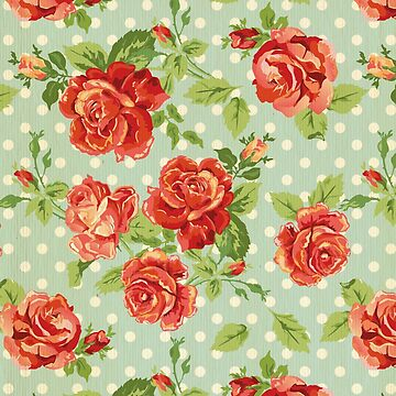 shabby chic,red roses,mint,white,polka dots,vintage,rustic, by love999