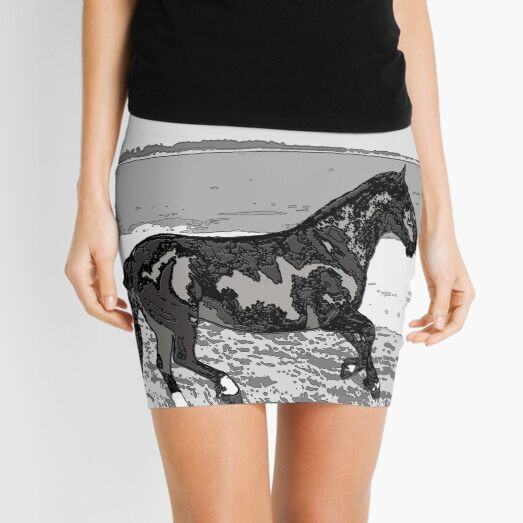 Caballo chileno (Equus ferus caballus) on the beach Mini Skirt