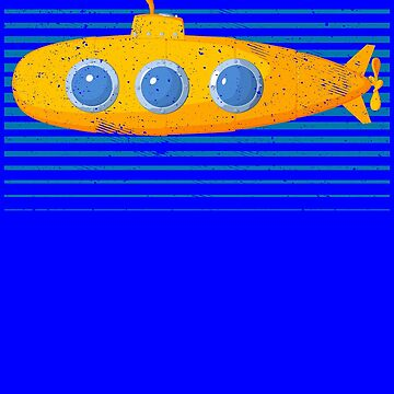 Retro Vintage yellow submarine blue stripes by Scoopivich