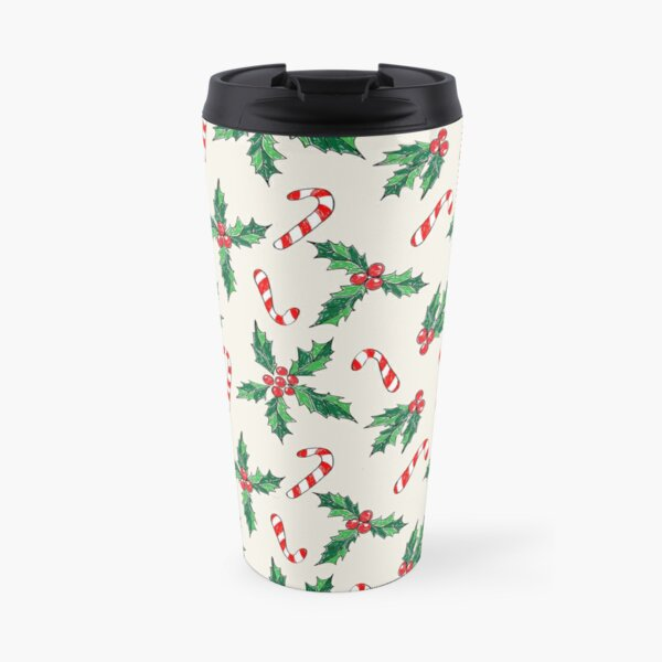 Sketched Holly and Candy Cane seamless repeat pattern Travel Mug