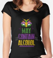 ff4b61f4b5960 Mardi Gras partier May Contain Alcohol Bourbon Street New Orleans Women s  Fitted Scoop T-Shirt