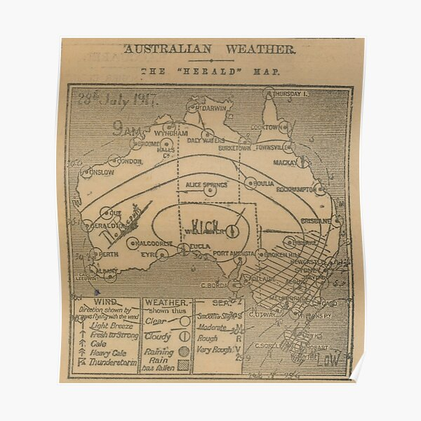 Australian Weather Map 28 July 1917 Poster