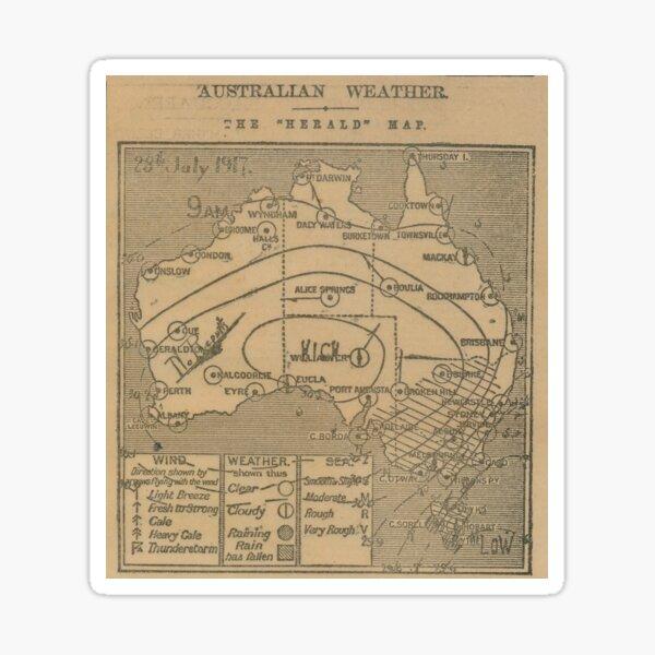 Australian Weather Map 28 July 1917 Sticker