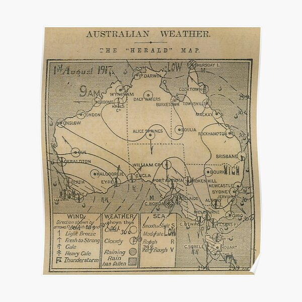 Australian Weather Map 1 August 1917 Poster