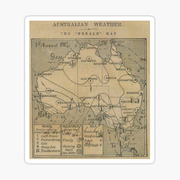Australian Weather Map 1 August 1917 Sticker