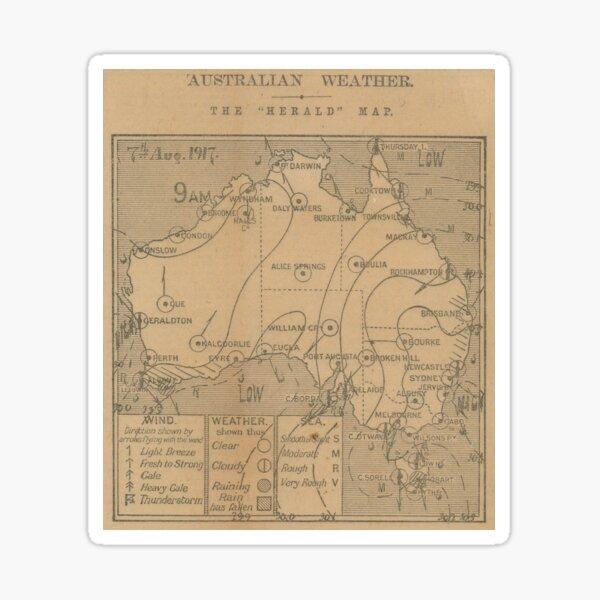 Australian Weather Map 7 August 1917 Sticker