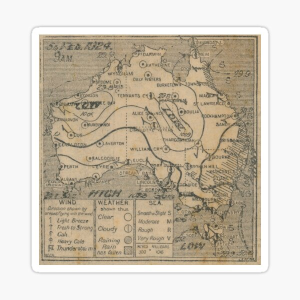 Australian Weather Map 5 February 1924 Sticker
