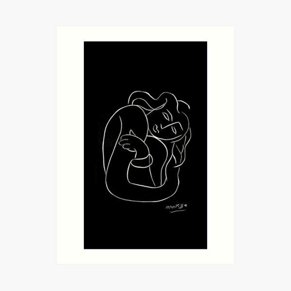 TAHITIAN LADY  Vintage Matisse Black and White Painting Print Art Print