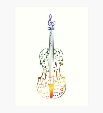 Bunte Violine mit Notizen Kunstdruck