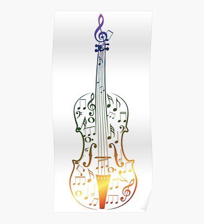 Bunte Violine mit Notizen Poster