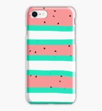 Summer bright coral mint watermelon stripe pattern iPhone Case/Skin