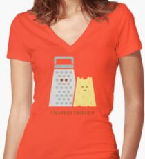 Cheesy Friendship Women's Fitted V-Neck T-Shirt