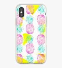 Vinilo o funda para iPhone Tropical pink mint green yellow pineapples pattern