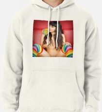 Hot Girl on T-shirt - Pinup Girl - Hot Asian Girl - Adult Actress - Porn Star Sophia Jade in Rainbow Stockings & Lollipop Graphic T-shirt Pullover Hoodie