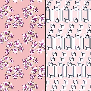Cherry Blossoms V Cubes DUO (Pattern Organic V Geometric) His and hers Duvet cover by jazzydevil