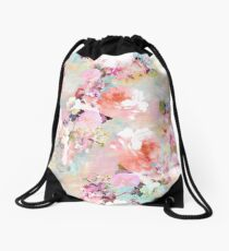 Romantic Pink Teal Watercolor Chic Floral Pattern Drawstring Bag