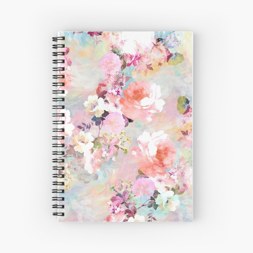 Romantic Pink Teal Watercolor Chic estampado de flores Cuaderno de espiral