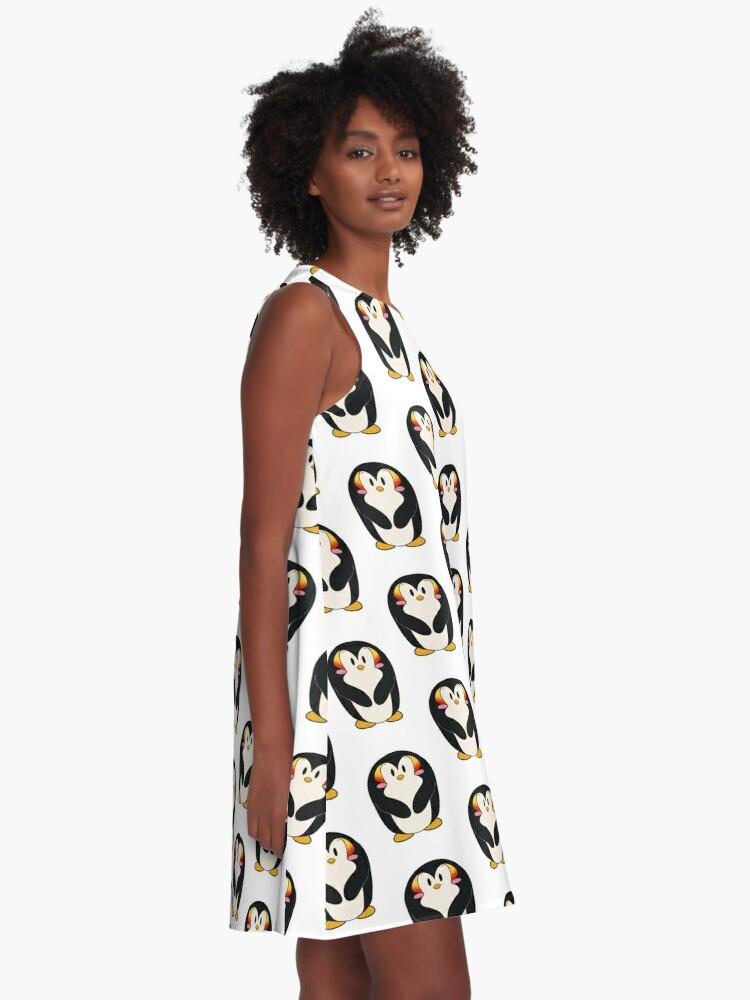 Alternative Ansicht von Kawaii Kaiserpinguin A-Linien Kleid
