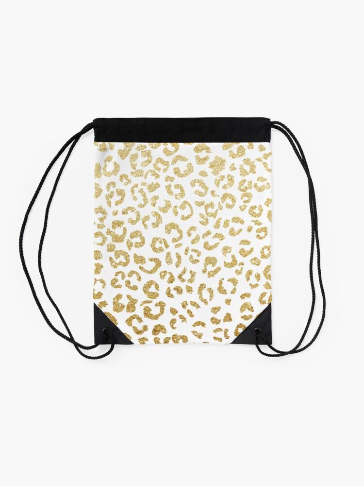 Alternate view of Modern leopard pattern luxury faux gold glitter Drawstring Bag