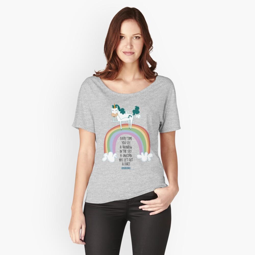 Camiseta ancha para mujer Unicorn fart Delante