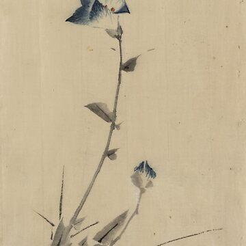 Blue Flower Blossom - Hokusai Katsushika - 1849 by CrankyOldDude