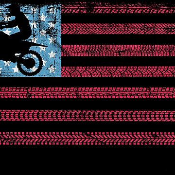 Dirt Bike Motocross American Falg Gift Distressed by Rueb