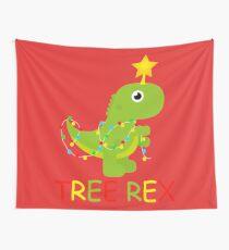 Tree Rex Christmas Tree Dionosaur Star Gift Sweet Animal Cute Wall Tapestry