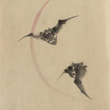 Two Bats Flying - Hokusai Katsushika - 1850 by CrankyOldDude