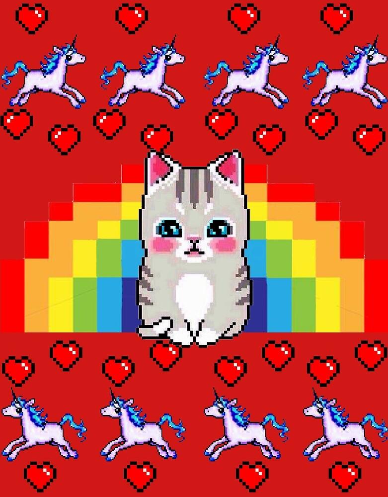 Cochon Pull Mauve Chat Arc En Ciel Licorne Coeur Pixel Par