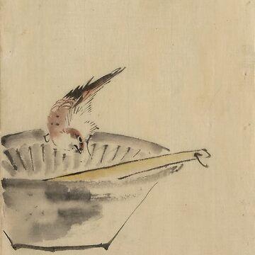 A Bird Perched - Hokusai Katsushika - 1850 by CrankyOldDude