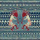 Native American Kokopelli - Ethno Border Pattern 2 by EDDArt