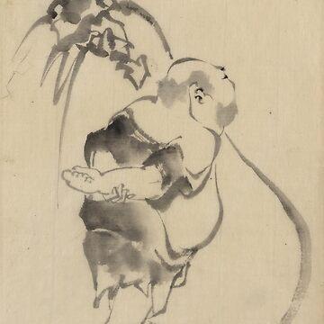 Hotei The God Of Good Fortune 2 - Hokusai Katsushika - 1850 by CrankyOldDude