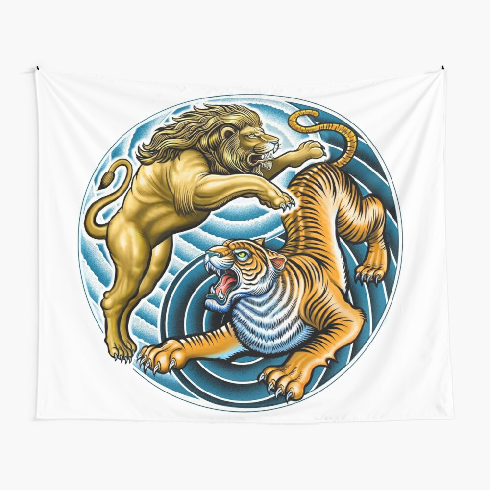 Lion and Tiger Wall Tapestry