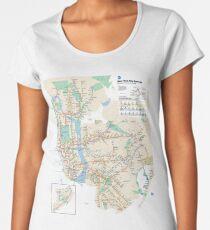 #NY #subway #map #famousplace #BrooklynBridge #CityHall #ChambersStreet #NewYorkCity #USA #map #cartography #topography #travel #country #guidance #vector #graph#colorimage #newyorkstate #NYSubwayMap Women's Premium T-Shirt