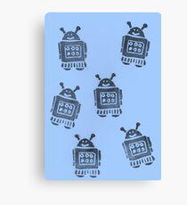Blue Robots Canvas Print