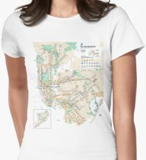 #NY #subway #map #famousplace #BrooklynBridge #CityHall #ChambersStreet #NewYorkCity #USA #map #cartography #topography #travel #country #guidance #vector #graph#colorimage #newyorkstate #NYSubwayMap Women's Fitted T-Shirt