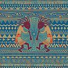 Native American Kokopelli - Ethno Border Pattern 3 by EDDArt
