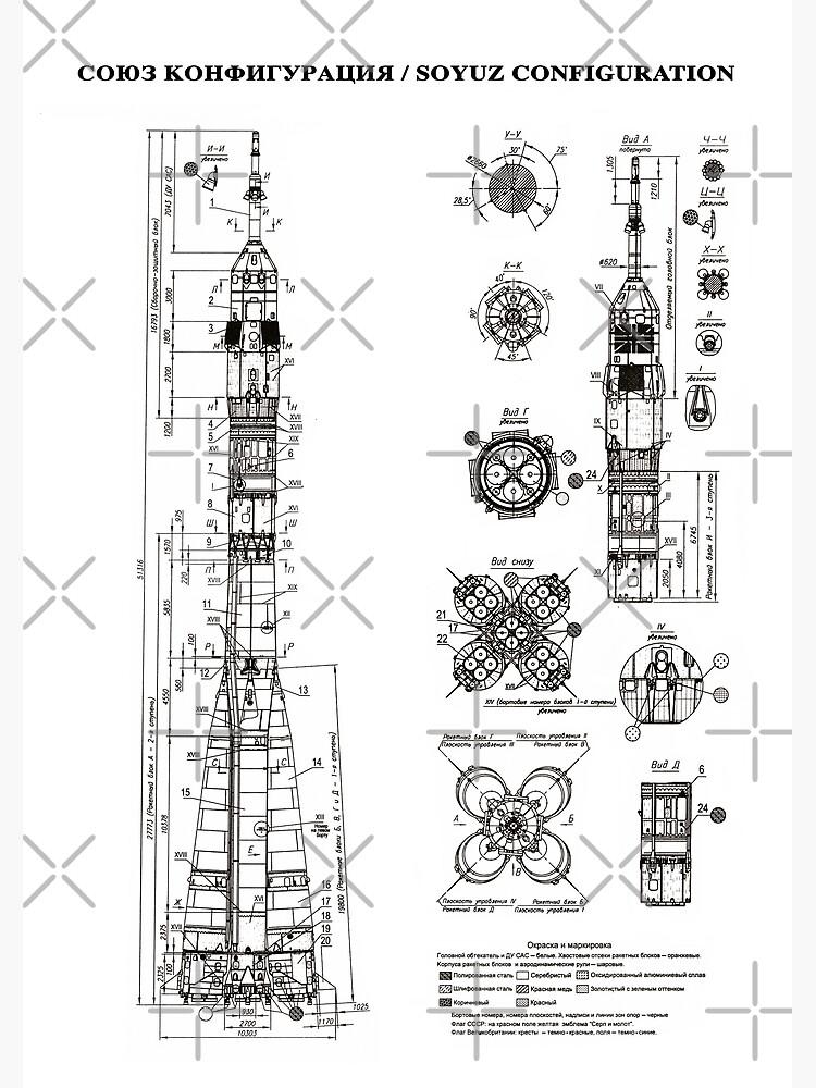 Soyuz Blueprint in High Resolution (white) by RHorowitz