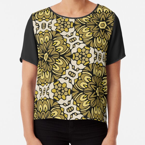 Yellow Dust Retro Floral Garden Chiffon Top