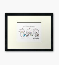3 ingredients of happiness: gardening, knitting, glass of wine ! / Cat doodle Framed Print