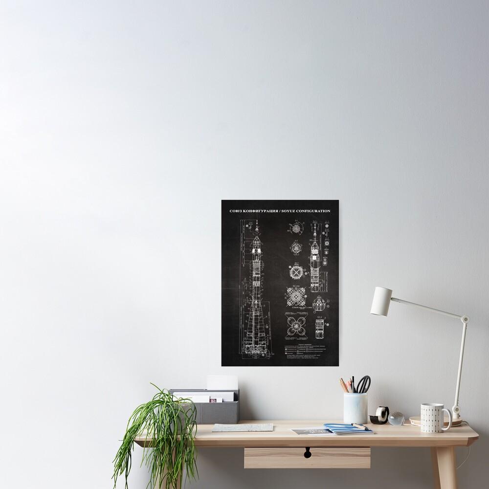 Soyuz Blueprint in High Resolution (black) Poster