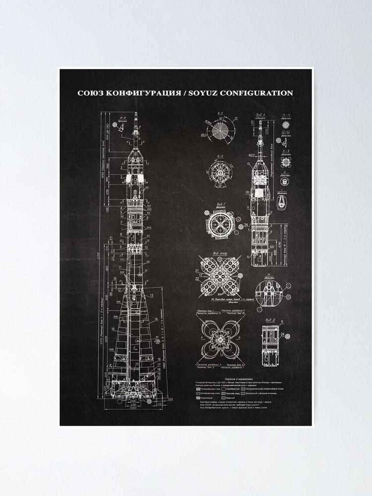 Alternate view of Soyuz Blueprint in High Resolution (black) Poster