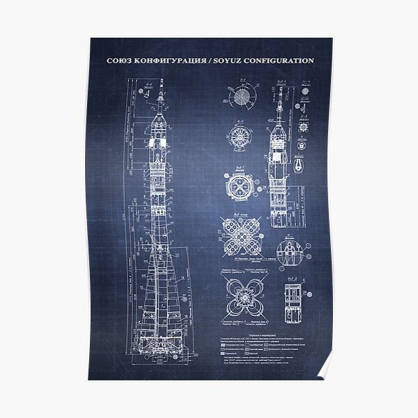 Soyuz Blueprint in High Resolution (dark blue) Poster