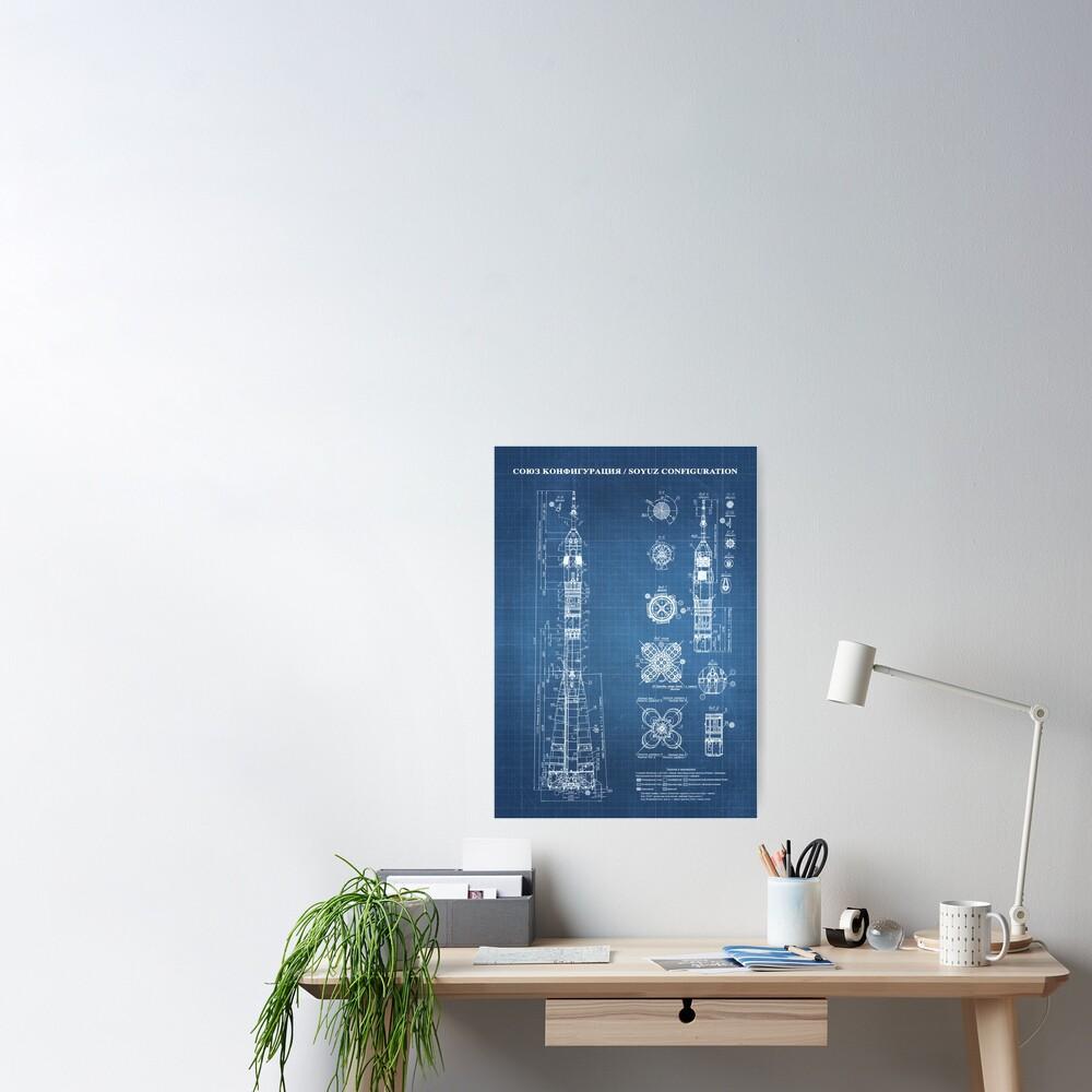 Soyuz Blueprint in High Resolution (light blue) Poster