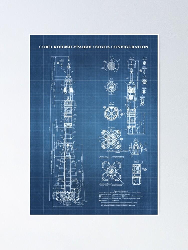 Alternate view of Soyuz Blueprint in High Resolution (light blue) Poster