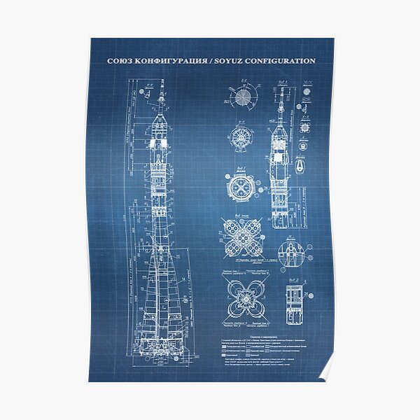 Soyuz Blueprint in High Resolution (light blue) Poster