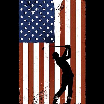 Golf Sport American Flag Vintage Gift Golfing Tee by Rueb