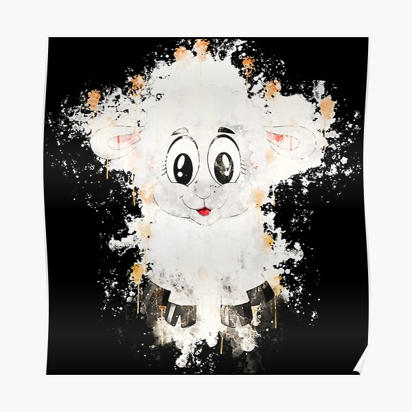 Lamb sheep cute watercolor painted Poster