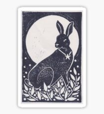 Hare and Moon Lino Print Sticker