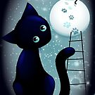 Blue Kitty Dream on the Moon by BluedarkArt